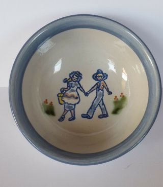 "Louisville Stoneware Kentucky Bowl 6 "" Couple Walking Holding Hands Flowers Vtg"