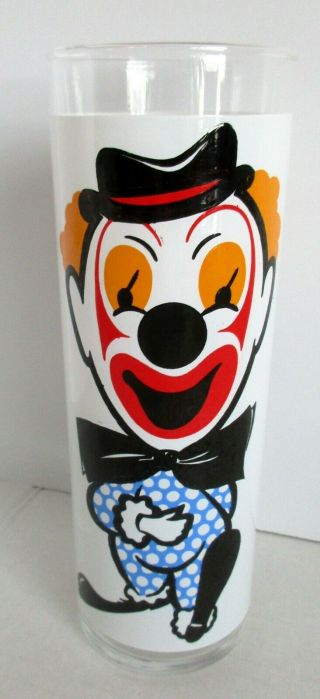 Vintage Happy Face Sad Face Clown Drinking Glass Beverage High Ball Tumbler 6 ""