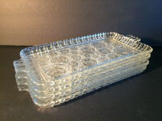Vintage Clear Pressed Glass Rectangular Butter Liner Relish Dish Vanity Tray