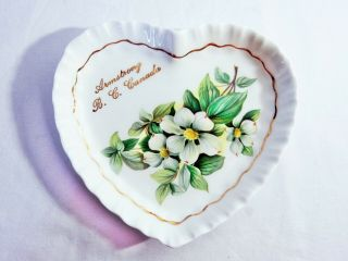 Vintage Royal Adderley Dogwood Canadian Provincial Flowers Heart Pin Dish Plate