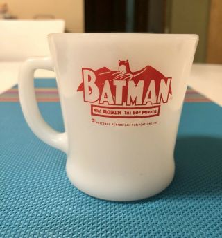 Vintage Anchor Hocking Red Fire King Batman Robin Mug 1960