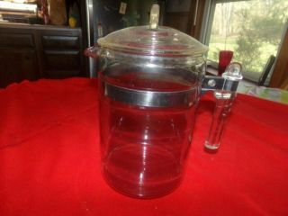 Vintage Pyrex Flameglow Coffee Pot 7829 - B Straight Handle & Lid 9 Cup