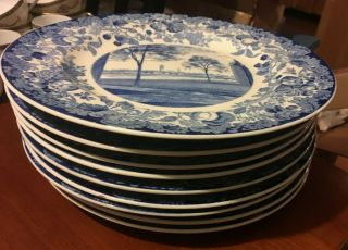"1 Of 7 - Vintage Wedgwood Harvard University 10.  25 "" Plate Blue Transfer Ware"