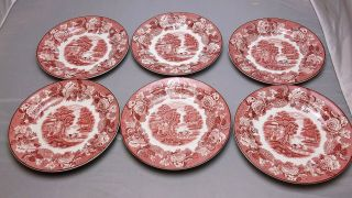 6 Vintage Enoch Woods Woods Ware English Scenery Luncheon Side Plates,  Red Pink