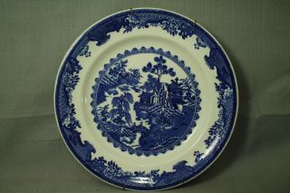 Vintage Old Ideal Lunch Plate Made In U.  S.  A.  Blue White Willow Ironstone 11 ""