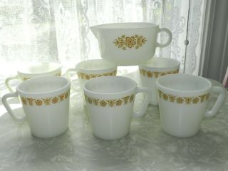 Vtg Mcm Gold Butterfly Pyrex 1410 Milk Glass Coffee Mugs Gravy Boat 7pc Corelle