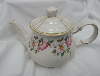 Vintage Sadler England Teapot Ivory With Pink & White Flowers And Gold Trim