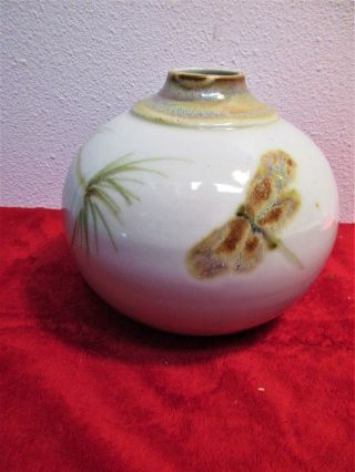 """Vintage Vase Pottery Dragonfly Earth Fire $85.  Hand Crafted 6 """" Dia 5 1/4 """" H"""