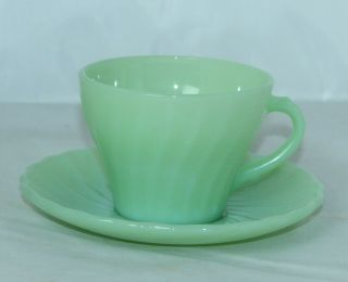 Vintage Anchor Hocking Fire King Jadeite Swirl Shell Glass Coffee Cup & Saucer