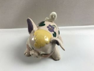 Vintage Kay Finch California Pottery Pig Purple Ear & Flowers