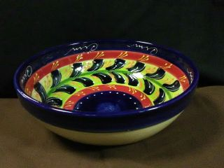 Lovely Vtg.  Hnos Pedraza Spanish Abstract Pottery Hand Painted Serving Bowl,  Spain