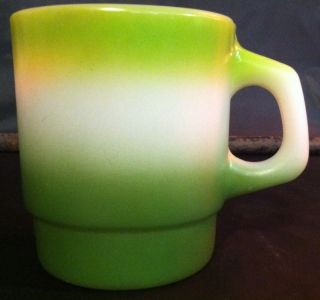 Vintage Fire King Green Three Tone D Handle Avocado Chartreuse Stackable Mug Cup