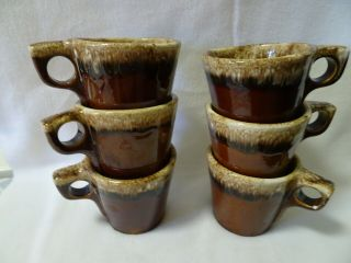 Vintage Hull.  Brown Drip Glaze Oven Proof Usa Set Of 6 Coffee Cups/mugs