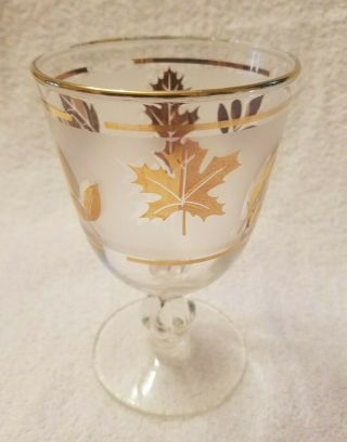 "Vintage Libbey Frosted Gold Leaf Footed Water/cordial Glass 5.  5 "" Tall,  8,  Oz."