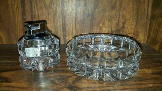 Mikasa Heavy Crystal Lighter & Ashtray Matching Set Vintage Made In Germany