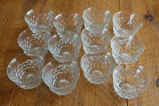 "12 Vintage Clear Fostoria American Glass Punch Tea Cups Flared Rim "" C "" Handle"