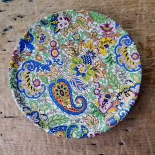 "Rare Vintage Wade Heath Colorful Paisley Chintz 6 "" Round Tea Tile Pot Rest Plate"