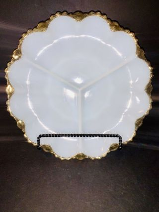 Vintage White Milk Glass Divided Serving Platter Relish Plate Dish Gold Trim Box