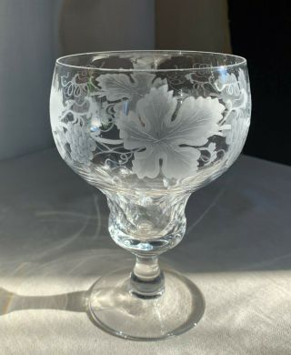 """Val St Lambert """" Vignes """" Vintage French Crystal Water Goblet.  5 1/2 """" H.  1950s."""