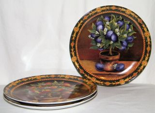 Vtg Set (3) T.  Limoges Porcelaine Fruit Decorative Plates Plum/lemon/peach Ex