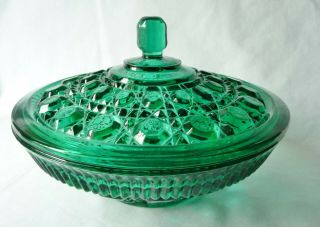 "Indiana Glass Covered Candy Dish / Round Bowl 7 - 1/2 "" Button & Cane Pattern Vtg"