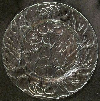 8 Vintage Frosted Kig Indonesia Grape Textured Clear/frosted Dinner Plates