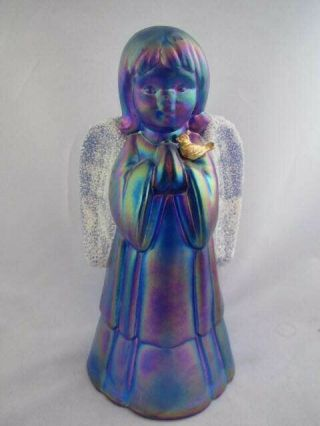 Vintage Art Glass - Fenton Iridescent 5.  75 Inch Praying Angel With Frosted Wings