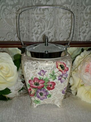 Vintage Midwinter Floral And Gold Chintz Biscuit Barrel