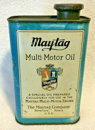 Vintage Maytag Multi Motor Oil Washing Machine Tin Can Sign Motor Engine Newton