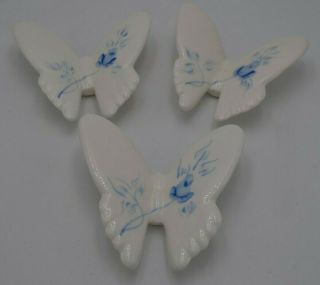 Vintage Homco Blue Roses Porcelain Ceramic Butterflies Picture Wall Hanging