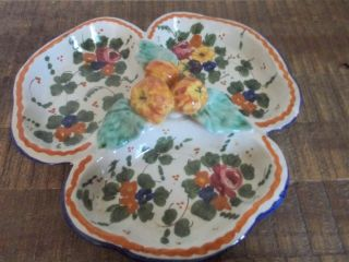 Vintage Hand Painted Italian Pottery Floral Divided Serving Dish