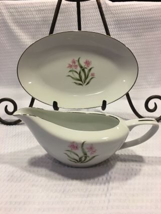 Vintage Grant Crest Pink Orchid China Gravy Boat/oval Resting Plate Japan