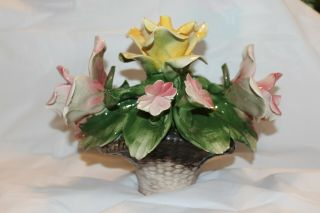 Capodimonte Large Vintage Rose Centerpiece Flower Basket Made In Italy Rare Huge
