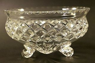 Vintage Three Footed Diamond Cut Crystal Rose Bowl With Cone Base