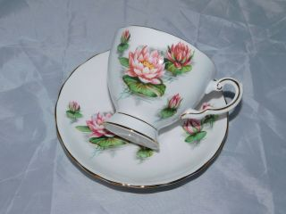 Vintage Tuscan Fine Bone China Birthday Flowers - Water Lily - Tea Cup & Saucer