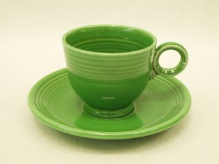 Vintage Old Fiesta Ware Cup & Saucer In Medium Green Homer Laughlin China 1950
