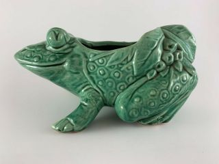 "Mccoy Green Frog Planter 8.  5 "" Vintage"
