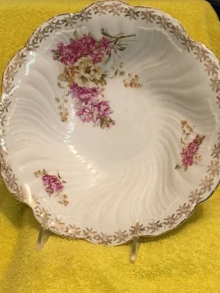 Vintage Early Ct Serving Bowl - Floral Design - Made In Germany - Numbered