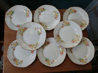 Eight Vintage Homer Laughlin Pottery Bread Plates F 49 N 6 Yellow Flower