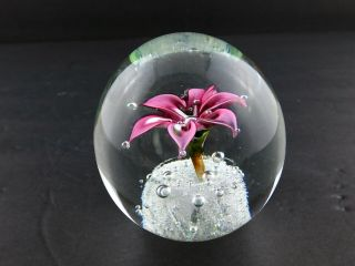 Vintage Art Glass Paperweight Controller Bubble Pink Petal Flower Polished Base