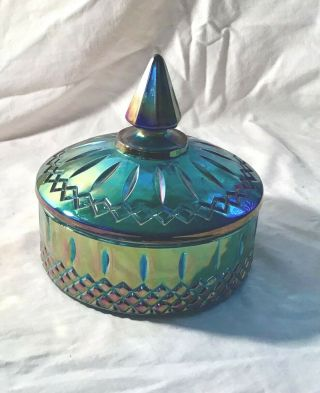 Blue Carnival Vintage Candy Dish With Lid