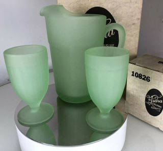 Green Frosted Tiara Glass Pitcher & 2 Glasses Tumblers Set Vintage & Box
