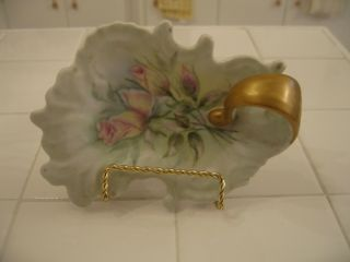 Vintage Hand Painted Hp Nappy Dish Bowl With Pink Roses Floral & Gold