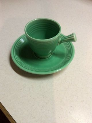 Vintage Fiesta Ware Pottery Early Demitasse Stick Handle Cup & Saucer Green