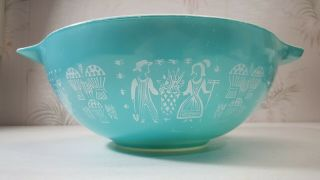 "Vintage Pyrex "" Amish Butterprint "" Turquoise 444 4 - Quart 10 1/4 "" Mixing Bowl"