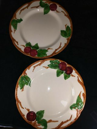 """Set Of 2 Vintage Franciscan Apple 10.  5 """" Dinner Plates Made In California"""