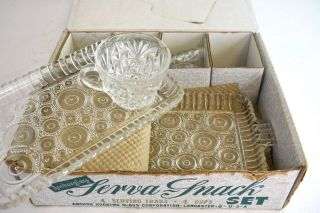 Anchorglass Serva Snack Set 4 Serving Trays And 4 Mugs Glass Vtg Set