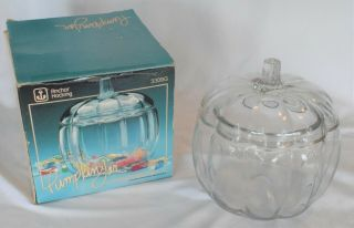 Vintage Anchor Hocking Pumpkin Candy Cookie Jar Clear Glass 2 Pc W/ Orig Box
