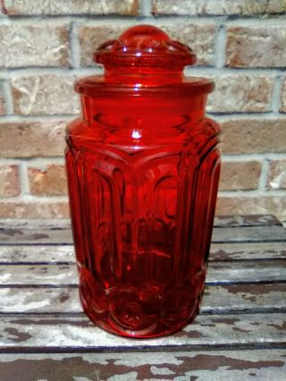 """11 """" Vintage Le Smith Red Amberina Glass Moon & Stars Kitchen Canister"""