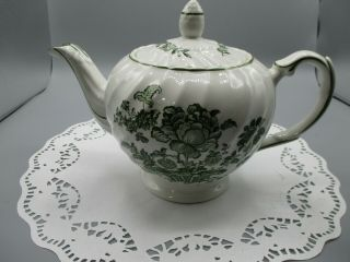 Vintage Royal Crownford Charlotte Teapot Green Staffordshire Made In England